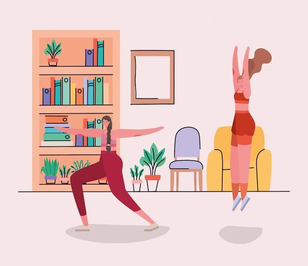Frauen machen zu hause yoga