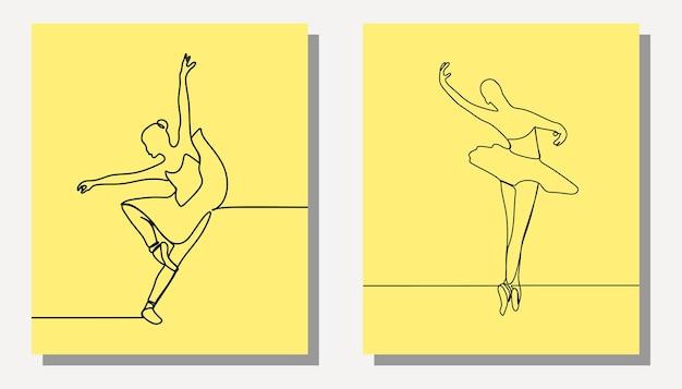 Frauen mädchen ballettkleid einzeilig durchgehende linie premium-vektorgrafiken