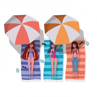 Frauen mit badeanzug, der charakter ein sonnenbad nimmt