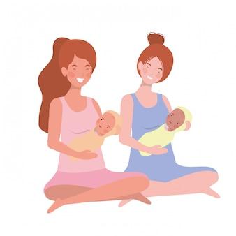Frauen mit einem neugeborenen baby in den armen