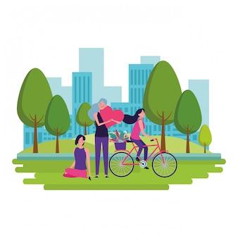 Frauen mit fahrrad und herz