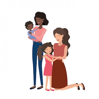 Frauen mit kinderavataracharakter