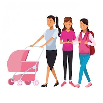 Frauen mit Kinderwagen