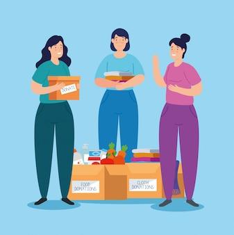 Frauen mit kisten der wohltätigkeitsspendenillustration