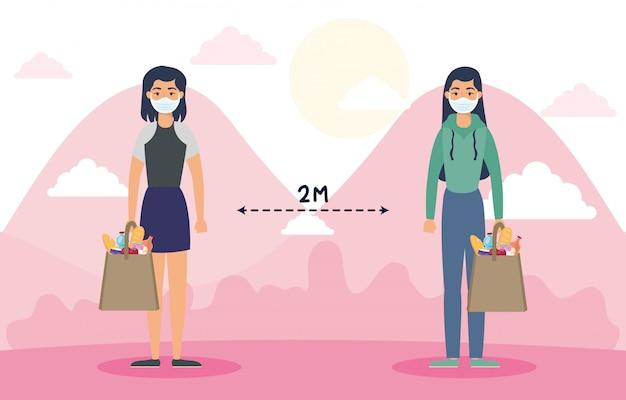 Frauen mit lebensmitteleinkaufstasche und sozialer distanzierung für covid19