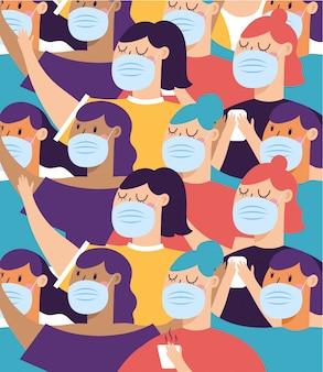 Frauen mit maskenhintergrund