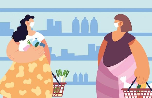 Frauen mit medizinischer maske im supermarkt mit vorsichtsmaßnahmen durch coronavirus, soziale distanzierung