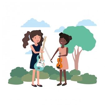 Frauen mit musikinstrumenten in der landschaft