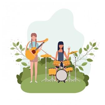Frauen mit musikinstrumenten und landschaft