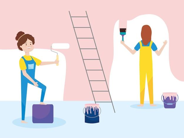 Frauen mit overalls und farbroller eimer pinsel illustration umbau