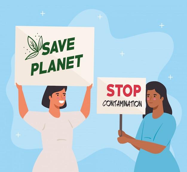 Frauen mit protestplakaten, retten den planeten und stoppen die kontamination, aktivistinnen mit streikmanifestationszeichen, menschenrechtskonzept
