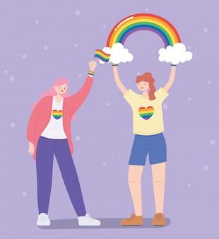 Frauen mit regenbogen und flagge