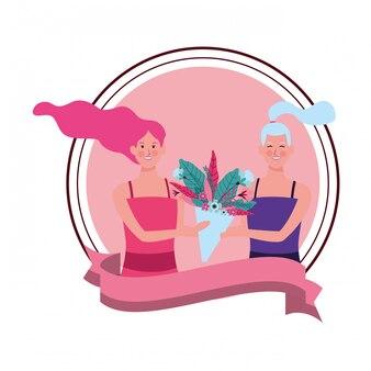 Frauen mit runder illustration der blume