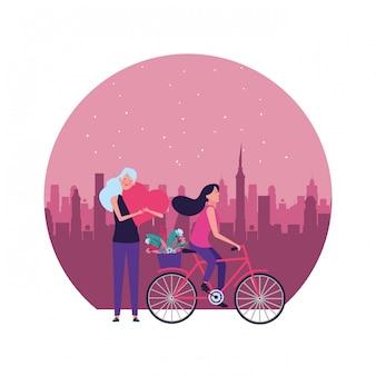 Frauen mit runder illustration des fahrrades und des herzens