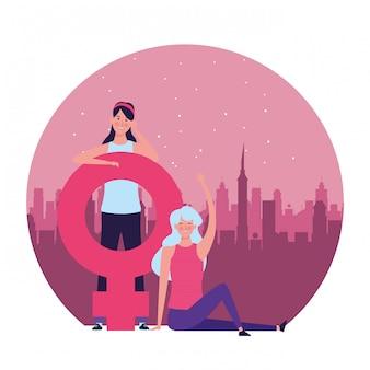 Frauen mit runder illustration des weiblichen symbols