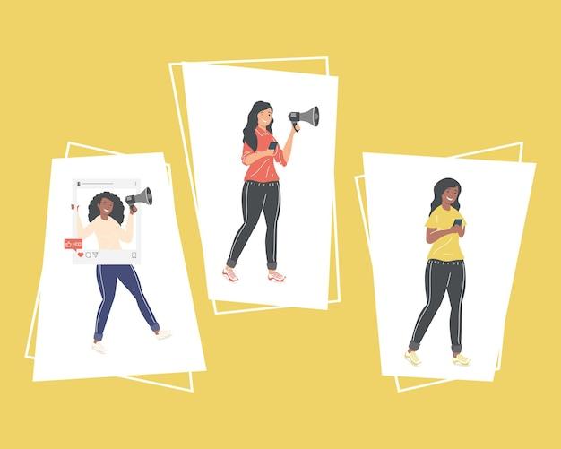 Frauen mit social-media-symbolen