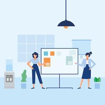 Frauen mit vorstand im bürodesign, belegschaft für geschäftsobjekte und unternehmensthema