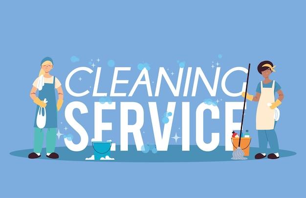 Frauen mit wäsche- und reinigungsservice illustration desing