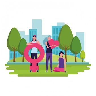 Frauen mit weiblichem symbol und herzen