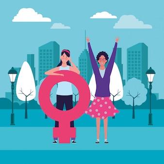 Frauen mit weiblichem symbol