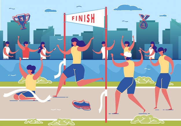 Frauen nehmen am marathonlauf teil.