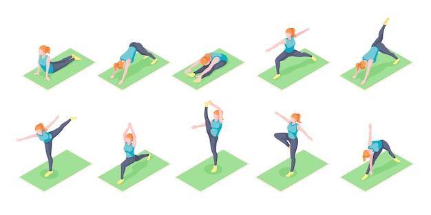 Frauen- oder mädchenyoga stellt übung auf isometrischen symbolen der yogamatte dar frauenkörpergleichgewicht und -dehnung