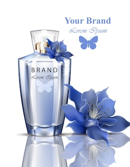 Frauen parfüm flasche lilie blume duft. realistische vektor-produktverpackungsentwürfe moc