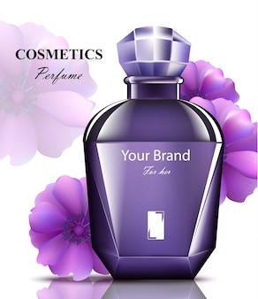 Frauen parfüm lila flasche mit zarten blumen duft.