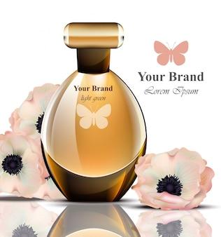 Frauen parfümflasche mit zarten blumen duft. realistisch