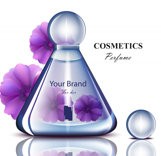 Frauen parfümflasche mit zarten blumen duft