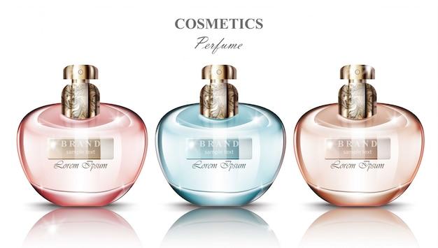 Frauen parfümflasche set kollektion düfte. realistische vektor-produktverpackungsentwürfe