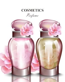 Frauen parfumflasche rosenduft. realistische vektor-produktverpackungsentwürfe mock-up