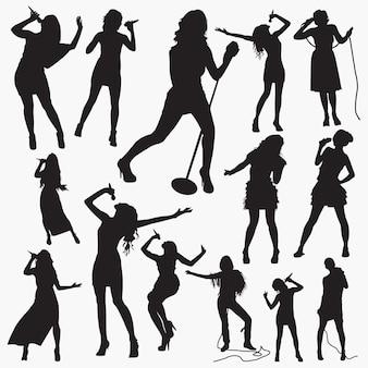 Frauen-pop-sänger-silhouetten