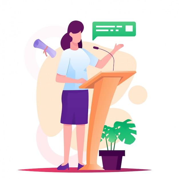 Frauen rede auf der bühne illustration