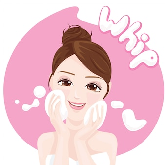 Frauen-reinigungspeitsche-schaum
