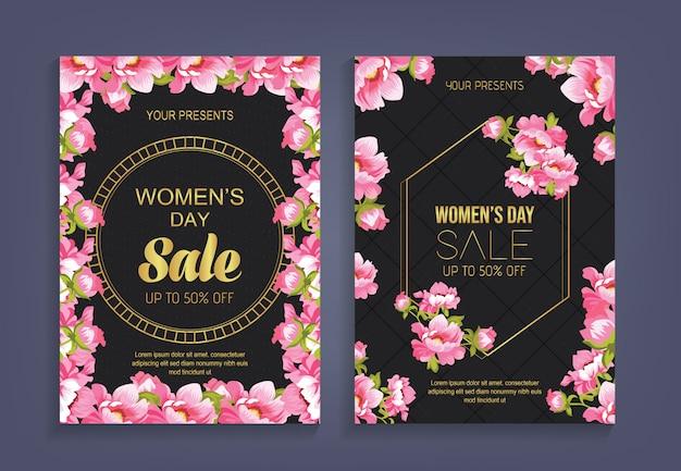 Frauen, s tagesverkauf mit musterblumenhintergrund