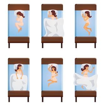 Frauen-schlafen wirft draufsicht auf