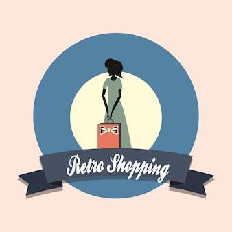 Frauen-silhouette retro einkaufstasche stil emblem