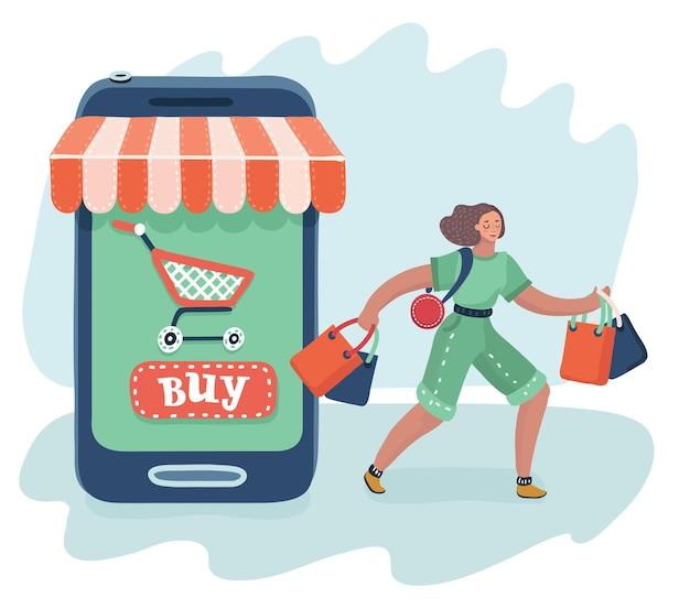 Frauen sind beim kauf in der nähe eines großen smartphones