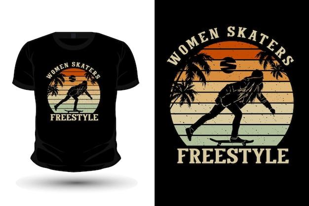 Frauen skater freestyle merchandise silhouette mockup t-shirt design