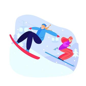 Frauen snowboarden und skifahren bergab