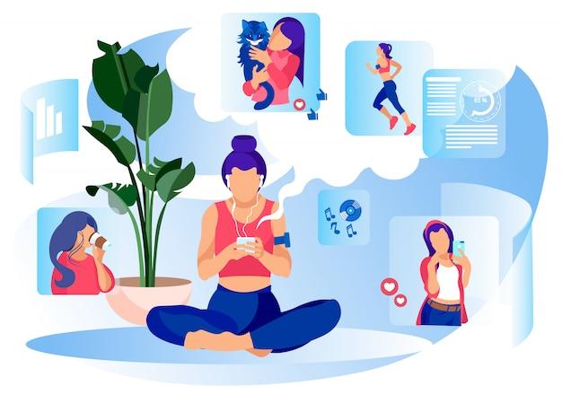 Frauen-social media-alltagsleben-metapher-flache fahne