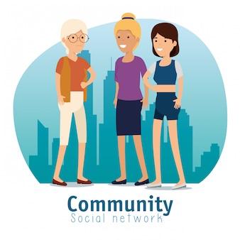 Frauen-sozialgemeinschaftsmitteilungsunterstützung