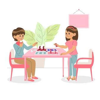 Frauen spielen ludo-spiel