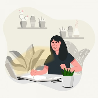 Frauen studieren konzeptillustration