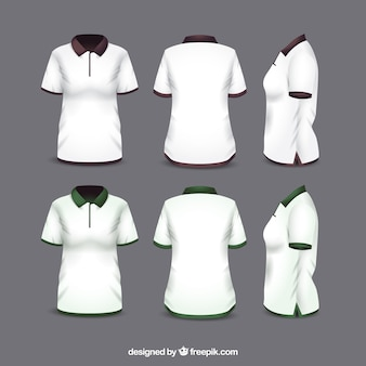 Frauen t-shirt in verschiedenen ansichten mit realistischem stil