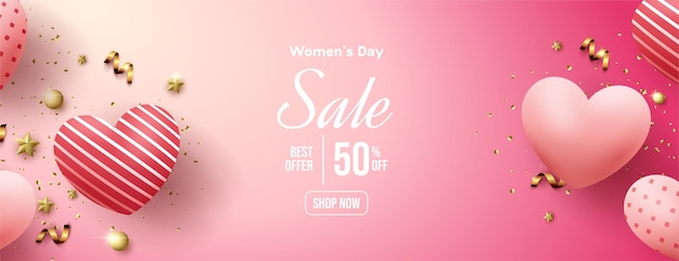Frauen-tagesverkauf mit luftballons lieben rosa illustration.