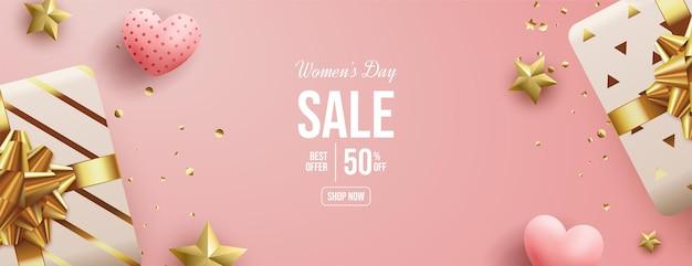 Frauen-tagesverkauf mit zwei 3d geschenkboxen.