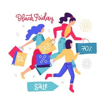 Frauen tragen einkaufspapiertüte, die für verkäufe läuft. mädchen beeilen sich für den saisonalen verkauf in laden, laden, einkaufszentrum, ausstellungsraum. kundinnen genießen rabatte. black friday schriftzug. .