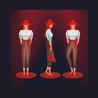 Frauen tragen hemden und hosen mit hoher taille auf verschiedene arten